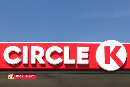 Holme, Denmark - June 3, 2016: Circle K is an international chain of convenience stores, founded in 1951 in United States. Circle K announced that the Statoil brands will be converted to the Circle K brand by the end of 2017