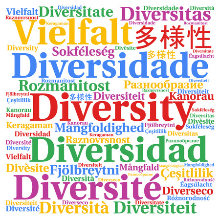multi cultural: Diversity in different languages word cloud Stock Photo