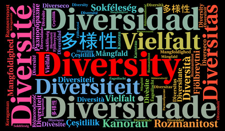 french ethnicity: Diversity in different languages word cloud Stock Photo