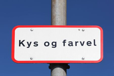 drop off: Kiss and Goodbye called Kys og Farvel in danish drop off zone in Denmark Stock Photo