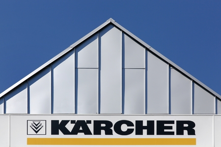 family owned: Aarhus, Denmark - June 11, 2016: Karcher is a German family owned company that operates worldwide and is known for its high pressure cleaners floor care equipment Editorial