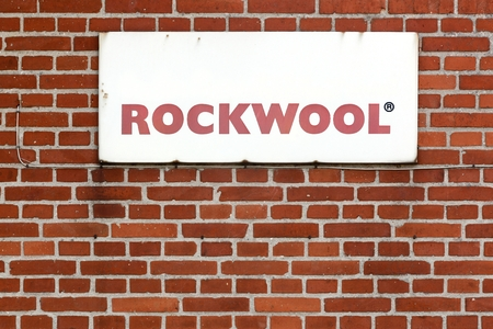 rockwool: Nykobing, Denmark - June 12, 2016: Rockwool sign on a wall. Rockwool, a danish company, is the leader in energy efficient building solutions Editorial