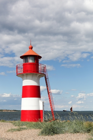 navigational light: The lighthouse of Oddesund in Denmark