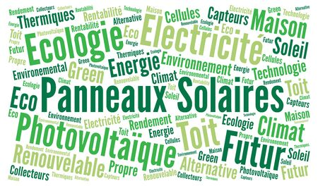 french text: Solar panel word cloud concept with french text