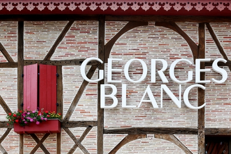 Vonnas, France - June 29, 2016: Georges Blanc restaurant in Vonnas, France. Georges Blanc in Vonnas is a French chef and restaurateur, with three Michelin stars