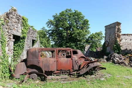 Destroyed village of Oradour sur Glane in June 1944, France Stock Photo