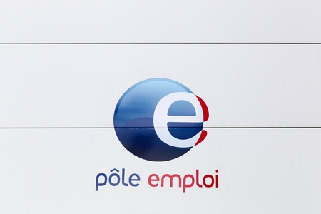 governmental: Nantes, France - June 25, 2016: Pole emploi is a French governmental agency which registers unemployed people, helps them find jobs and provides them with financial aid Editorial
