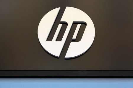 Lyon France August 15 2016 Hewlett Packard Sign On A Wall