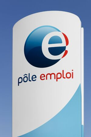 governmental: Saint Etienne, France - August 17, 2016: Pole emploi is a French governmental agency which registers unemployed people, helps them find jobs and provides them with financial aid Editorial