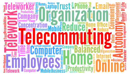 telecommuting: Telecommuting word cloud concept Stock Photo