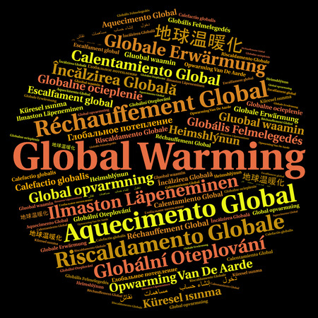 danger carbon dioxide  co2  labels: Global warming in different languages word cloud Stock Photo