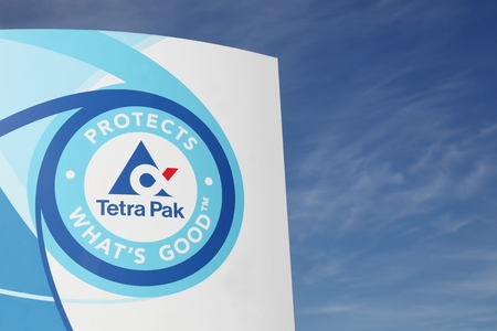 Viby, Denmark - May 13, 2016: Tetra pak logo. Tetra Pak is a multinational food packaging and processing company of Swedish origin with head offices in Lund, Sweden Editorial