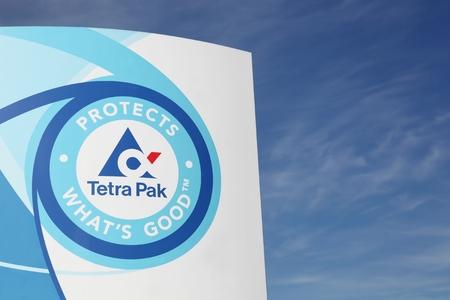 Viby, Dinamarca - 13 may, 2016: logotipo de Tetra Pak. Tetra Pak es una multinacional de envasado de alimentos y la compañía de procesamiento de origen sueco con sede en Lund, Suecia