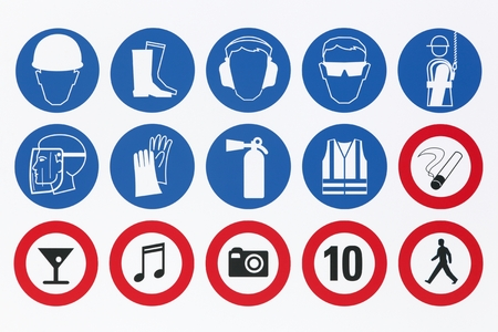 Safety signs on a signboard