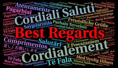 best regards: Best regards in foreign languages word cloud