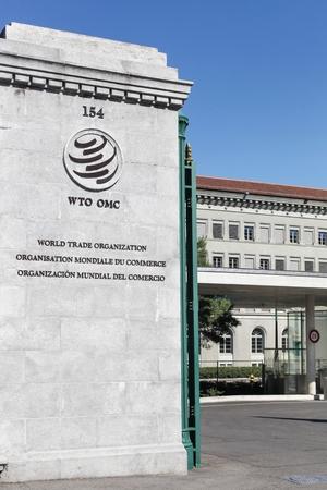 Genève, Suisse - 14 août 2016: entrée de l'Organisation mondiale du commerce. L'Organisation mondiale du commerce est une organisation intergouvernementale qui réglemente le commerce international à Genève Banque d'images - 62933821