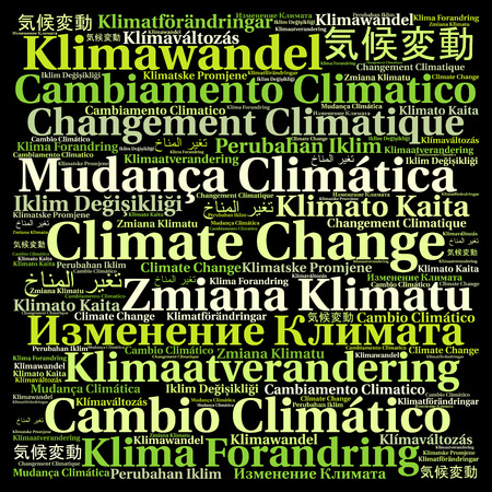 Climate change in different languages word cloud