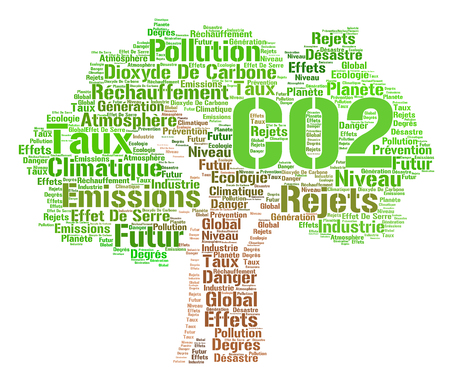 danger carbon dioxide  co2  labels: CO2 word cloud concept with french text Stock Photo
