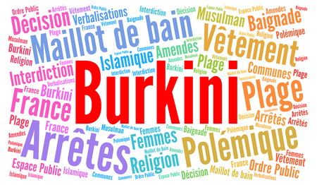 modest fashion: Burkini word cloud illustration with french text