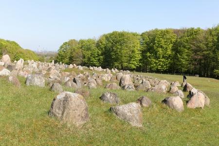 Lindholm Hills called Lindholm Hoje in Danish is a major viking burial site in Denmark Stock Photo