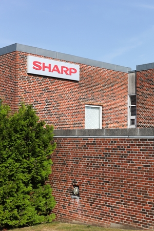 Aarhus, Denmark - September 25, 2016: Sharp building and office. Sharp is a Japanese multinational corporation that designs and manufactures electronic products Editorial