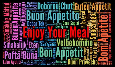 Enjoy your meal in different languages word cloud 免版税图像 - 66621148