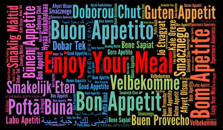 Geniet van uw maaltijd in verschillende talen word cloud