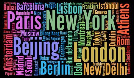 Travel cities destinations word cloud concept Stock Photo