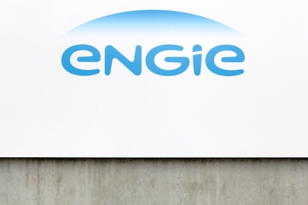 electricity company: Givors, France - October 22, 2016: Engie is a French multinational electric utility company which operates in the fields of electricity generation and distribution, natural gas and renewable energy
