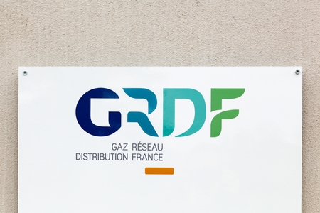 gas distribution: Villefranche, France - October 23, 2016: GRDF is a French company of gas distribution etablished in 2007. This is the main distributor of natural gas in France and Europe