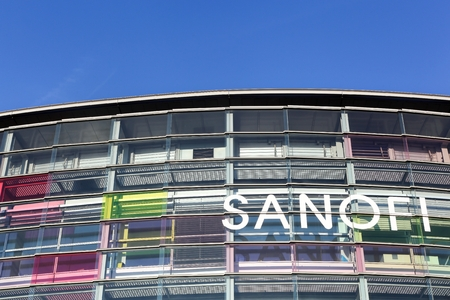 pharmaceutical company: Lyon, France - October 22, 2016: Sanofi building and office. Sanofi is a French multinational pharmaceutical company headquartered in Gentilly, France Editorial