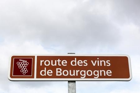 Road of Bourgogne wine sign, France