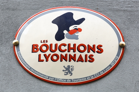 where to eat: Lyon, France - October 12, 2016: Bouchons Lyonnais is a typical restaurant where you eat specialties from Lyon and the region