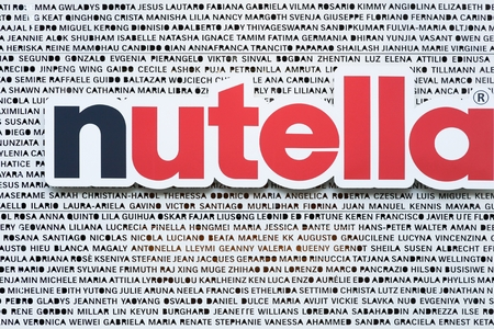 nutella: Milan, Italy - July 21, 2015: Nutella is a brand of sweetened hazelnut cocoa spread manufactured by the Italian company Ferrero that was first introduced in 1964