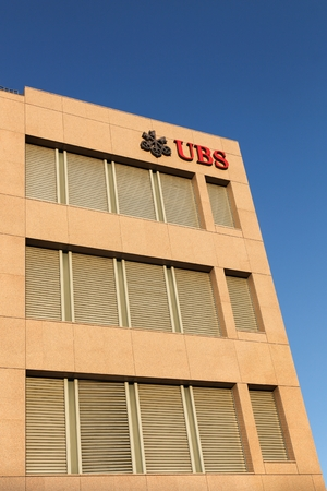 headquartered: Geneva, Switzerland - August 14, 2016: UBS office building. UBS is a Swiss global financial services company. UBS is the largest bank in Switzerland and co-headquartered in Zurich and Basel Editorial