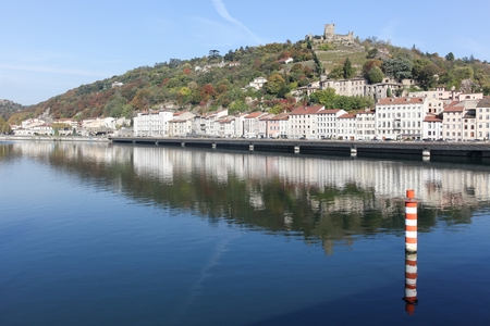 View of the city of Vienne with Rhone river in France