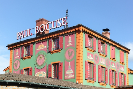 Lyon, France - October 20, 2016: Restaurant Paul Bocuse in Lyon. Paul Bocuse, 3 stars at the Michelin guide, is a french chef based in Lyon who is famous for the high quality of his restaurant