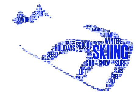 snowboard: Skiing snowboard word cloud illustration Stock Photo