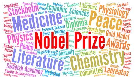 laureates: obel prize word cloud concept illustration