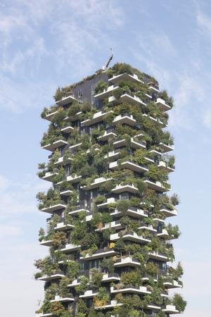 bosco: Milan, Italy - September 16, 2016: Vertical forest building called Bosco verticale in Italian, Milan, Italy