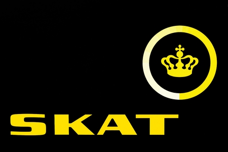 Aarhus, Denmark - September11, 2016: Danish tax authority logo called Skat in Danish. It is the state authority under which the Danish Treasury calculates and collects taxes and levies charges Editorial