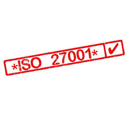 Rubber stamp with text ISO 27001 Stok Fotoğraf