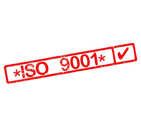 Rubber stamp with text ISO 9001 certified