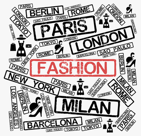 Fashion cities word cloud concept