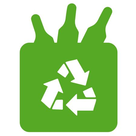 Recycling glass bottles Stock Photo