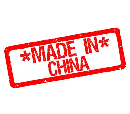 Rubber stamp with text made in China