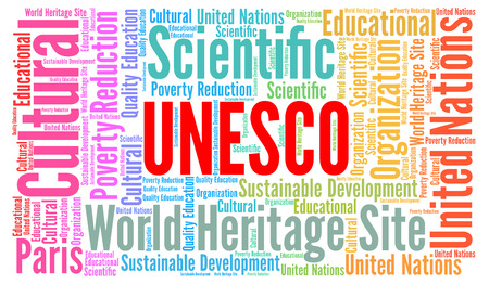 unesco world cultural heritage: Unesco word cloud concept Stock Photo
