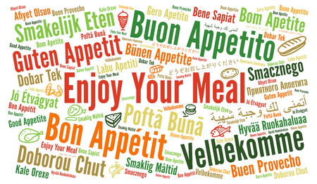 Enjoy your meal in different languages word cloud Stock fotó - 71699923