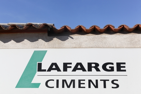 aggregates: Lozanne, France - February 25, 2017: Lafarge is a French industrial company specialising in three major products: cement, construction aggregates, and concrete Editorial