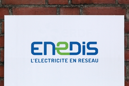 electricity providers: Orleans, France - March 19, 2017: Enedis logo on a wall. Enedis Is a public company , a 100% subsidiary of EDF, which is responsible for managing 95% of the electricity distribution network in France